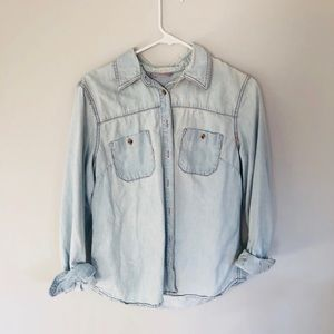 light wash denim print blouse